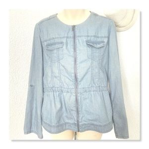 Chico's Blue Chambray Size 0/Small Zipper Top